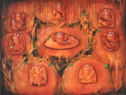 Religious Oil Art Painting title Ganesha Ashtavinayak by artist Durshit Bhaskar