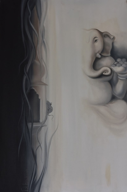 Religious Oil Art Painting title Ganesha Divine by artist Durshit Bhaskar