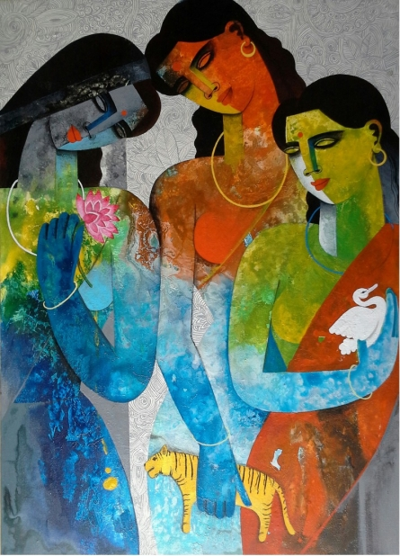 Brave Sisters | Painting by artist Appam Raghavendra | acrylic | Canvas