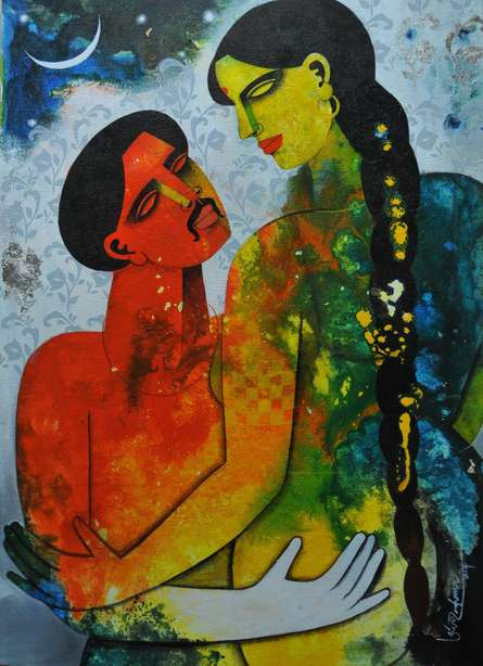 Couple II | Painting by artist Appam Raghavendra | acrylic | Canvas