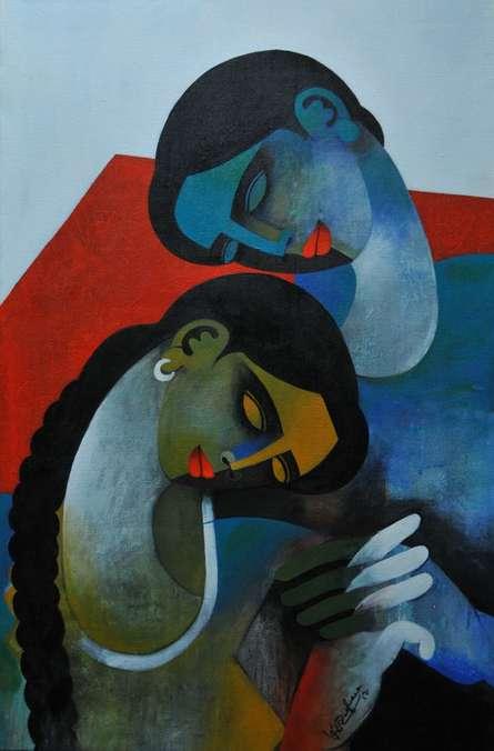 Couple III | Painting by artist Appam Raghavendra | acrylic | Canvas