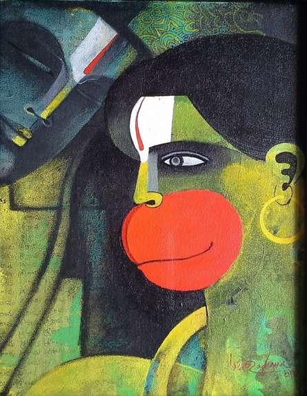 Religious Acrylic Art Painting title 'Hanuman I' by artist Appam Raghavendra