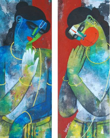 Figurative Acrylic Art Painting title Rama Hanuman by artist Appam Raghavendra