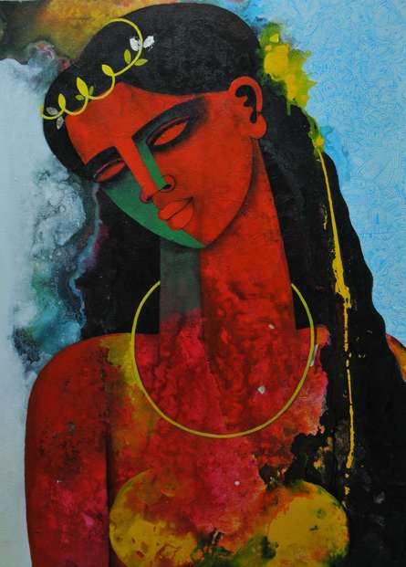 Figurative Acrylic Art Painting title 'Young Queen' by artist Appam Raghavendra