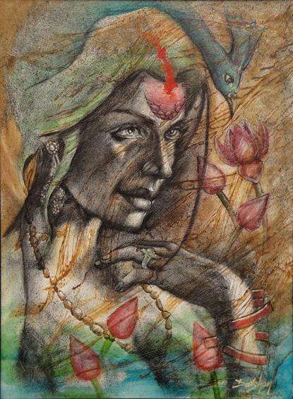 Figurative Oil Art Painting title Eternal Beauty by artist Darshan Sharma