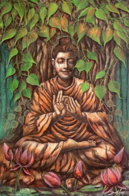 Motivational Oil Art Painting title Buddha by artist Darshan Sharma