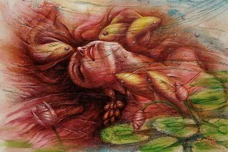 Darshan Sharma | Oil Painting title Under Water on Canvas | Artist Darshan Sharma Gallery | ArtZolo.com