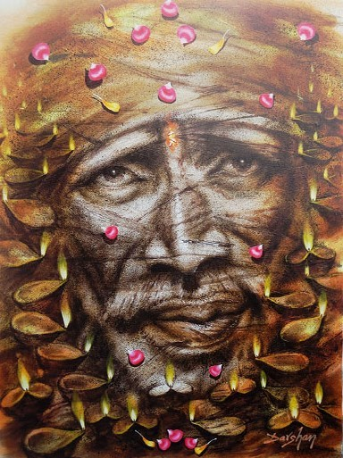 canvas paintings for sale. Shirdi Sai Baba. Oil On Canvas Paintings For Sale