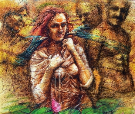 Figurative Oil Art Painting title Fantasy 10 by artist Darshan Sharma