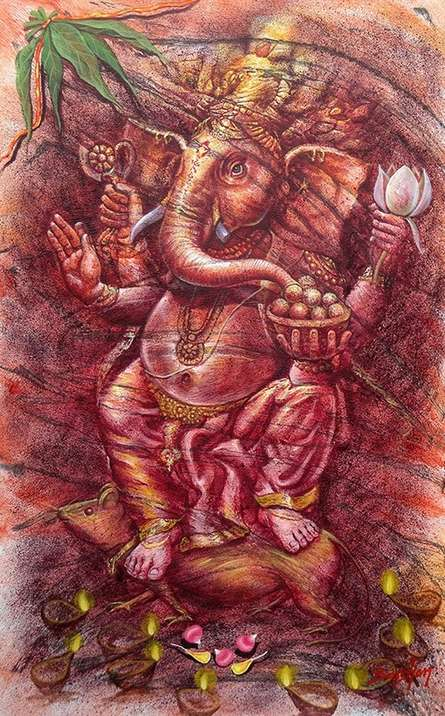 Religious Oil Art Painting title 'Ganesha' by artist Darshan Sharma