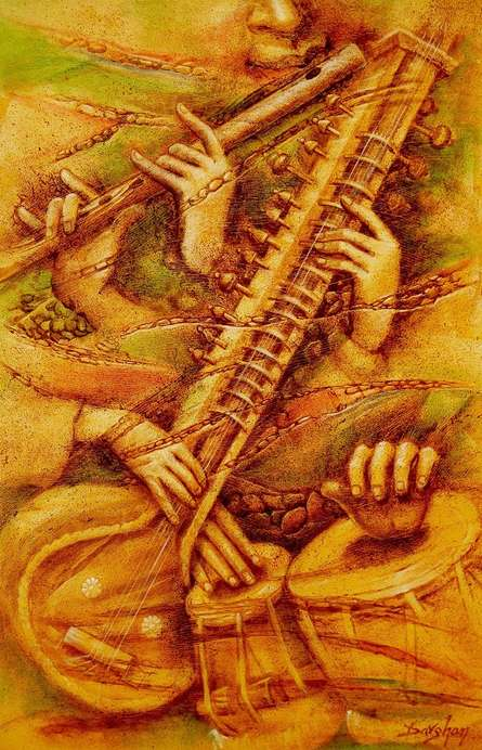 Music Oil Art Painting title 'Music' by artist Darshan Sharma