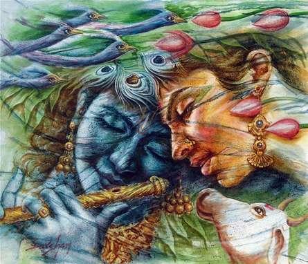 Religious Oil Art Painting title Radha Krishna 1 by artist Darshan Sharma