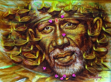 Religious Oil Art Painting title 'Sai Baba' by artist Darshan Sharma