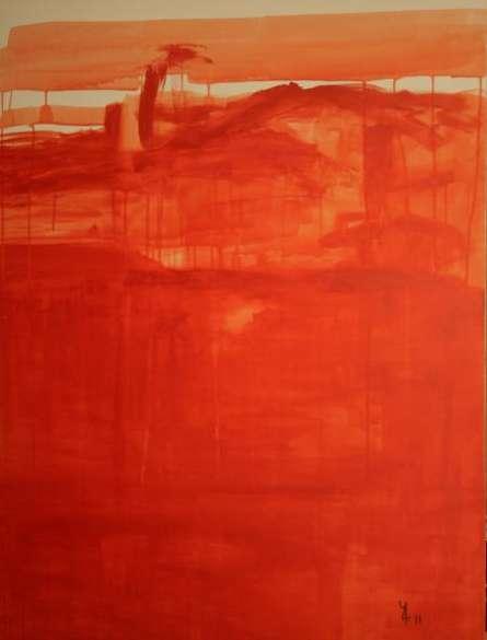 Abstract Oil Art Painting title Drip Orange Abstract by artist Prakash Bal Joshi
