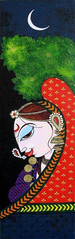 Figurative Acrylic Art Painting title Usha by artist Varsha Kharatamal