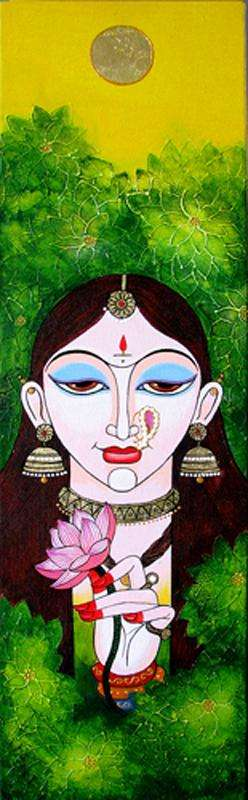 Figurative Acrylic Art Painting title 'Nisha' by artist Varsha Kharatamal