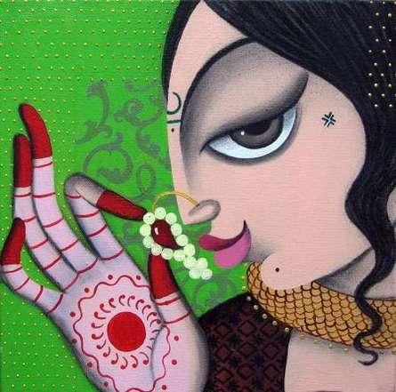 Figurative Acrylic Art Painting title 'Rhythmic 1' by artist Varsha Kharatamal