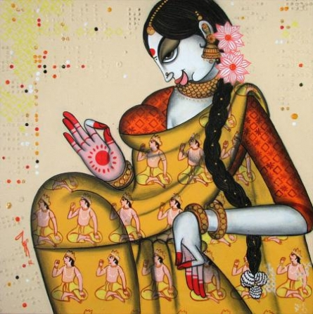 Figurative Acrylic Art Painting title Face 15 by artist Varsha Kharatamal