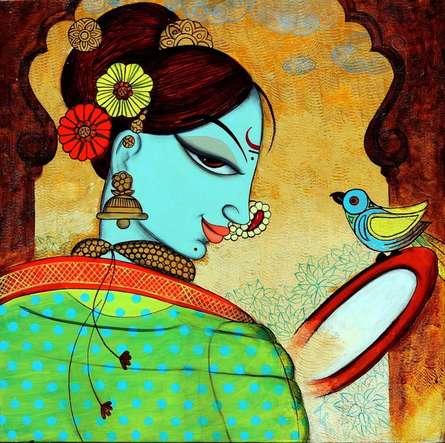 Figurative Acrylic Art Painting title 'Shringar 5' by artist Varsha Kharatamal