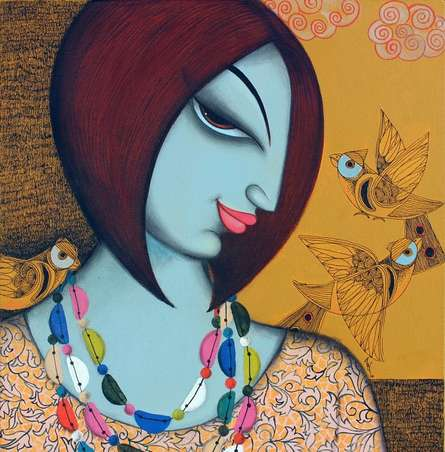 Figurative Acrylic Art Painting title Beauty by artist Varsha Kharatamal