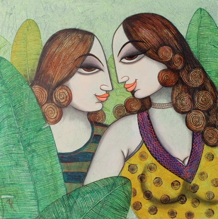 Figurative Acrylic Art Painting title 'Friends' by artist Varsha Kharatamal