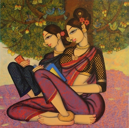 Figurative Acrylic Art Painting title Two Beauties by artist Varsha Kharatamal
