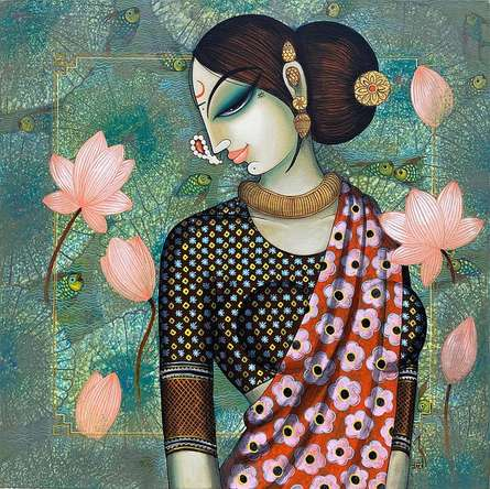 Figurative Acrylic Art Painting title 'Beauty' by artist Varsha Kharatamal