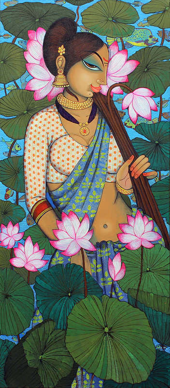 Figurative Acrylic Art Painting title 'Beauty And Lotus 1' by artist Varsha Kharatamal