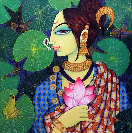 Beauty And Lotus 2 | Painting by artist Varsha Kharatamal | acrylic | Canvas