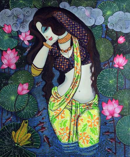 Figurative Acrylic Art Painting title Beauty And Lotus 3 by artist Varsha Kharatamal