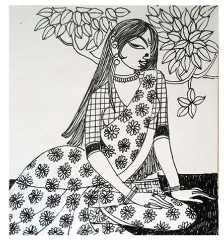 Ink Paintings | Drawing title Evening on Paper | Artist Varsha Kharatamal