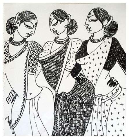 Three Women | Drawing by artist Varsha Kharatamal |  | Ink | Paper