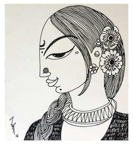 Woman | Drawing by artist Varsha Kharatamal |  | Ink | Paper