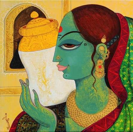 Figurative Acrylic Art Painting title 'Face 9' by artist Varsha Kharatamal