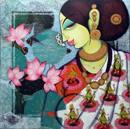 Varsha Kharatamal | Acrylic Painting title Lakshmi on Canvas | Artist Varsha Kharatamal Gallery | ArtZolo.com
