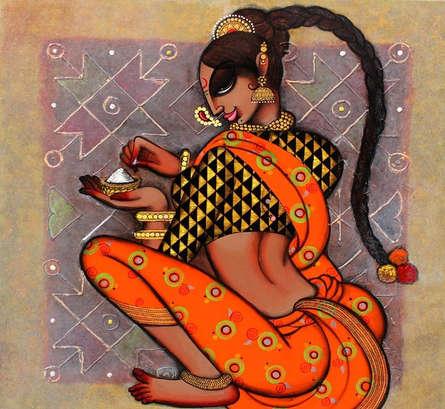 Figurative Acrylic Art Painting title 'Rangoli' by artist Varsha Kharatamal
