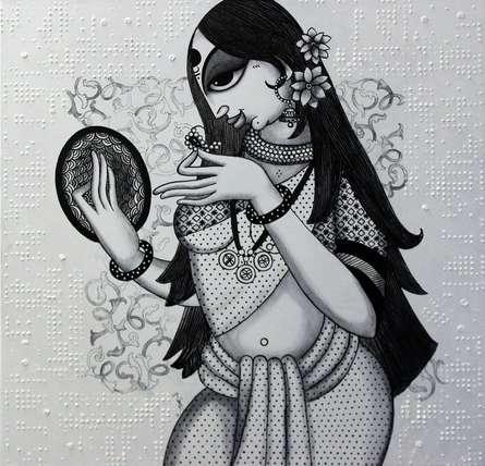 Figurative Acrylic Art Painting title Beautiful Lady by artist Varsha Kharatamal