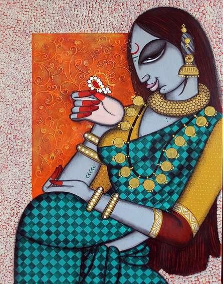 Varsha Kharatamal Paintings | Acrylic Painting - Rhythmic 11 by artist Varsha Kharatamal | ArtZolo.com