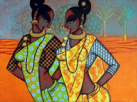 Figurative Acrylic Art Painting title 'Rhythmic 15' by artist Varsha Kharatamal