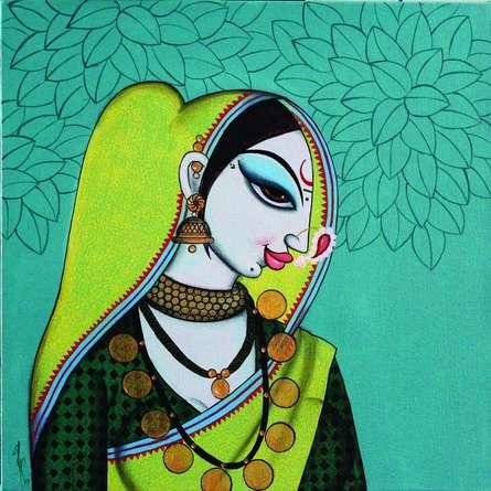 Figurative Acrylic Art Painting title 'Face 28' by artist Varsha Kharatamal