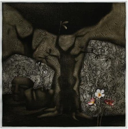 Yet Flowers Bloom | Hand print by artist Anup Mitra | Art print on Canvas