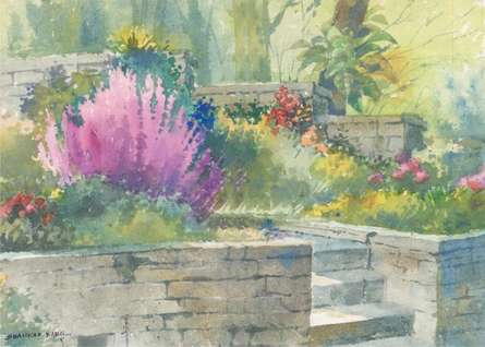 Scenic Watercolor Art Painting title 'Flowerbeds' by artist Sankara Babu