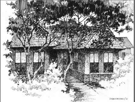 Scenic Pen Art Drawing title 'The Solitary Hut' by artist Sankara Babu