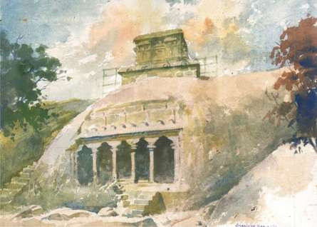 Scenic Watercolor Art Painting title Cave by artist Sankara Babu