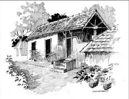 The Lonely House | Drawing by artist Sankara Babu | | pen | Paper