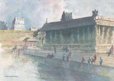 Scenic Watercolor Art Painting title 'Village Pond' by artist Sankara Babu