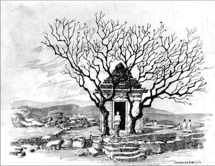 Scenic Pen Art Drawing title Mandir by artist Sankara Babu