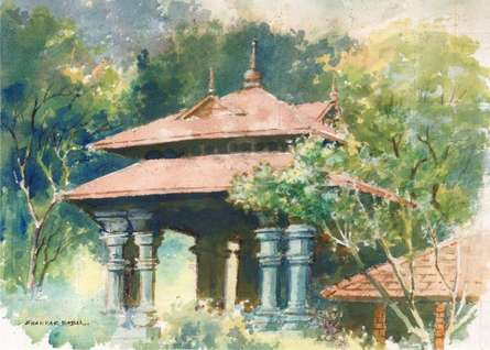 Scenic Watercolor Art Painting title 'Shed' by artist Sankara Babu