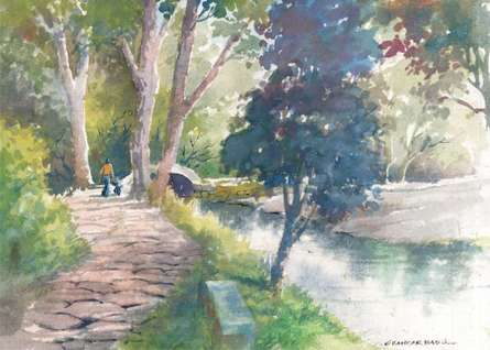 Scenic Watercolor Art Painting title 'Walk By The Stream' by artist Sankara Babu
