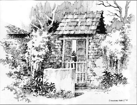Scenic Pen Art Drawing title 'The Open Door' by artist Sankara Babu